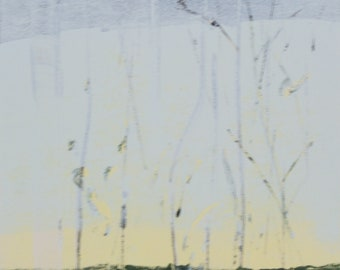 """Original image, Monotype """"changing"""", sheet size din A4, motif size 15 x 20 cm, abstract landscape"""