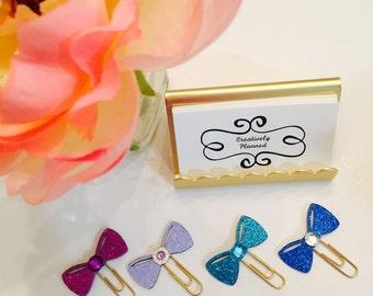 Small Glitter Bow Clip ~ Planner Clip ~ Page Clip ~ Bookmark