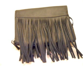 Little Black Fringed Faux Leather Folds in half for easy to carry