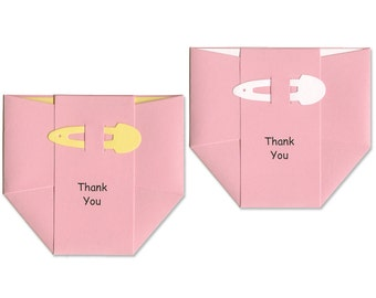 Baby Girl Thank-You Cards - Pink Diapers - Adorable Baby Girl Cards - Baby Shower Cards