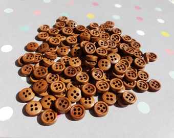 "Wood Buttons - Medium Color - 3/8"" Wide - 50 Wooden Sewing Buttons"