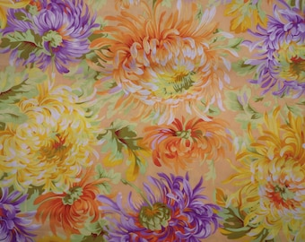 Spider Mums, Shaggy, Kaffe Fassett, Yellow & Orange, Floral Quilting Cotton, Free Spirit Fabrics, Woven Cotton, By the Half Yard