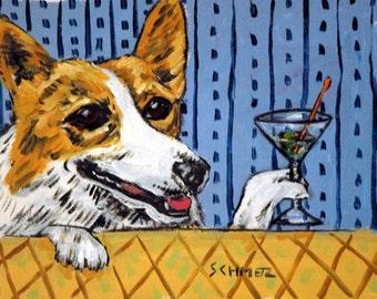 CORGI , dog PRINT, martini,  dog prints, impressionism, modern , animals , artist, dog art