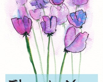 Purple & Pink Flowers Thank You Card