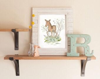 Woodland Nursery Art, Moose Nursery Art, Moose Print, Forest Animal Art, Children's Art, Nursery Decor, Kids Room Decor, Woodland Kids Art