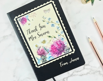 Personalised Wildflower Thank you A5 Lined Luxury Notebook - Personalised with Any Name - Hardback Book - FREE uk POSTAGE