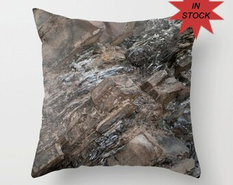 Rock Cushion Cover, Rustic Decor Accent Pillow Case, Earthy Greige Man Cave Sofa Accent, Abstract Grey Mountain Pillow Case Handmade