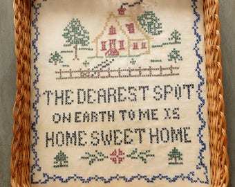 Vintage Cross Stitch On Fabric in Glass Top Basket Tray. Vintage Cross Stitch. Vintage Tray