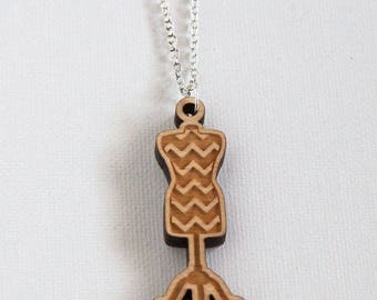 Sewing Necklace - Chevron Dressform Pendant, Wood