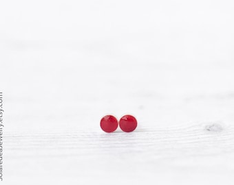 Small red stud earrings for women - 6mm red studs, Red post earrings, Red earrings, Round red stud earrings, Small stud earrings