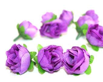 10 Small Purple Tea Roses - Artificial Flowers, Silk Roses