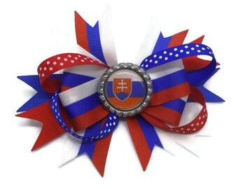Slovakia Hair clip ~ Slovak Hair Bow ~ Slovakia Flag stacked boutique bow ~ Slovensko Gift  ~ Girls Slovakia gift ~ Slovakia Beautiful Bow