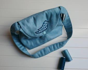 Handbag shoulder bag girl, kids bag, purse girl. Ice Blue Suede, Blue Bird.