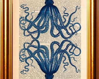 Mirror image Blue Octopus  print on vintage (1880's) upcycled French Dictionary page mixed media digital