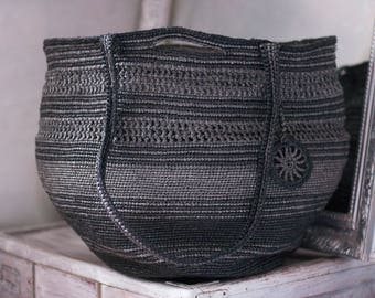 Rustic Plarn Tote Bag, Big Large Eco Friendly Upcycled, Silver Holdall, Black and Gray, Metalic Bag, Handbag Plarn Tote Bag, Crochet Tote