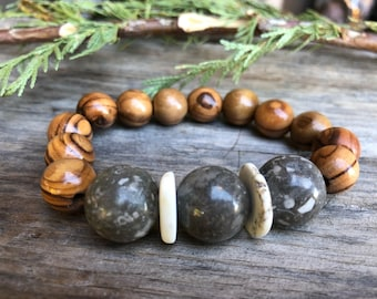 Jasper Gemstone Magnesite paired with Hand Carved Olive Wood from Bethlehem