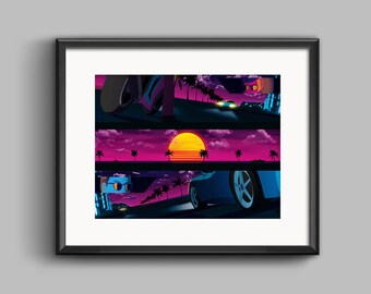 Showdown Art Print - synthwave, vaporwave, outrun, 80s, retro, portrait, neon, sunset, california, car chase, ferrari, motorcycle, beach