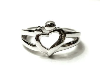 Mother and Child Heart Ring, Mother and Child Jewelry, Mother and Child Sterling Silver Ring, 925 Sterling Silver Ring, Silver Heart RIng