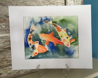 Watercolor Painting of Koi Fish in a Pond-Koi-Fish-Wall Art
