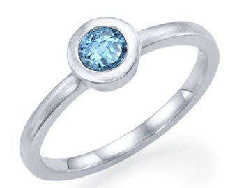 Round Cut Blue Topaz Engagement Ring 14k White Gold Art Deco Natural Blue Topaz Ring December Birthstone Anniversary Ring