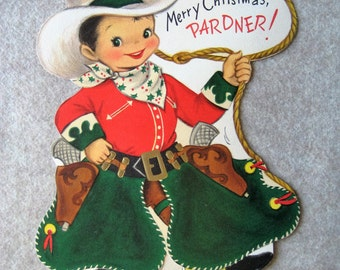 Merry Christmas Pardner! Standing Greeting Card Cut-Out
