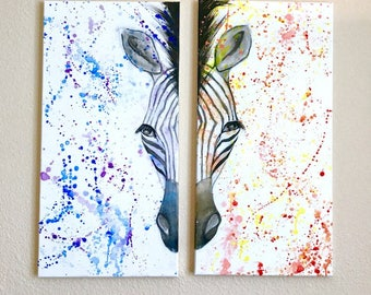 "Zebra Acrylic Painting 12""x24"", Zebra, Color Splash, Acrylic Paintings, Homedecor, Interior Designs Decor, Zebra Painting, Abstract Painti"