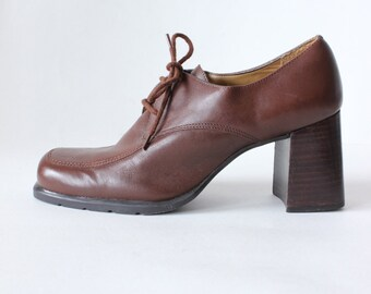 Vintage Ipanema Brown Leather Block Heel Oxfords, size 6.5
