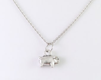 Pig Necklace, Tiny pig charm necklace, stainless steel necklace, charm necklace, for her, Bacon lover