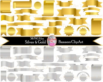 Gold and Silver Banners  Clipart  Digital Clip Art Graphics (051)