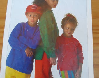 """Knitting Pattern by Sirdar no. 4984 for child's tunic style sweater in double knitting.  Sizes 20-30"""""""
