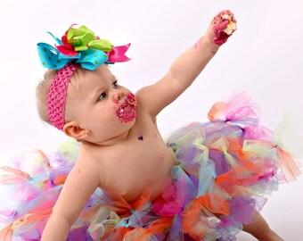 BIRTHDAY GIRL  Tutu Skirt Rainbow Petti Tied Party Set You can Custom choose Colors
