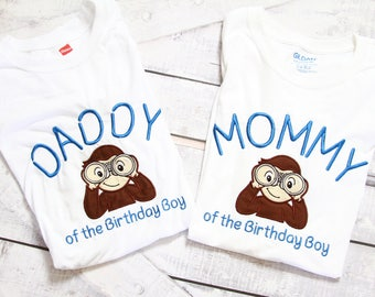 Curious Monkey Mom and Dad matching shirts Parents shirts Family Shirts Explorer Monkey matching family shirts