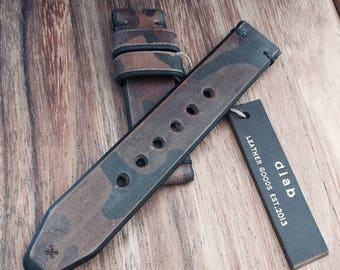 18/20/22/24 mm Handmade Camouflage Military Distressed Leather Vintage Watch Band / strap