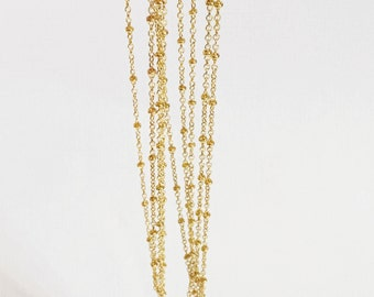 Electroplated brass chain with beads, gold beaded chain, small cable chain, yellow gold
