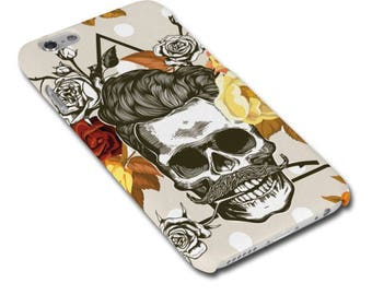 Skull with Moustache and Roses Hipster Phone Case / Cover for iPhone Case / Cover or Samsung Phone Case / Phone Cover - FREE UK DELIVERY