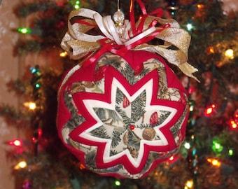 """LG. 7"""" Diameter Quilted Christmas Ball - Home Decor - Tree Decor - Christmas Design - OFG - HDM - Hand made - Holiday Decor"""