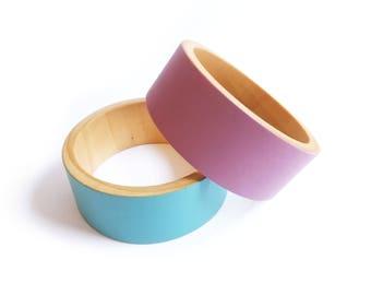 Wooden Bangle,  Pink Bangle, Pink Bracelet, Modern Bangle, Cuff Bangle, Chunky Wooden Jewellery, Wooden Jewelry