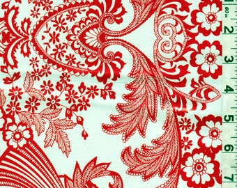 Red Floral Oilcloth, Fabric By The Yard