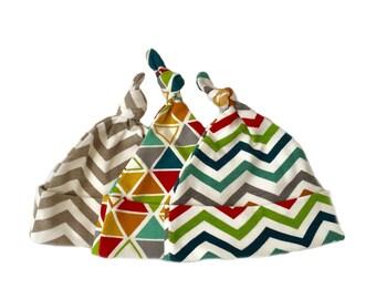 Baby gift under 25, baby knot caps, newborn baby gift, 3 organic knot hats, newborn hats,  geometric baby hats, neutral baby caps
