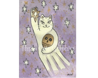 A Spirited Lucky Star - Ghost Cat with Skull - Choose from ACEO Print, Note Card with Stickers, or Art Print