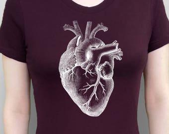 Heart Shirt Anatomical Heart T-Shirt White Heart Tshirt Heart Tee Women's Top Plum Red Shirt Screen Printed Tee Women's Clothes Vintage Tees