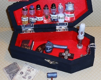 "Vampire Hunting Kit Dollhouse MIniatures, Supernatural Miniatures, Dead Mans Blood, Holy Water, StakesSilver bullets COMES WITH CASE 5"" tall"