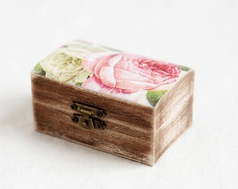 Rustic Wedding Ring Box, Ring Bearer Box, Ring Holder, Ring Box, Ring Box Wedding, Engagement Ring Box, Wooden Ring Box, Roses Ring Box