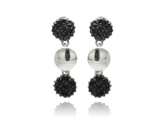 925 Sterling Silver Black Rhodium Plated Cluster CZ Dangling Earring