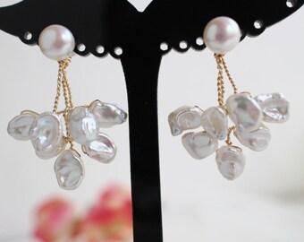 Keshi Pearl Earrings,Ear Jacket Pearl,Bridal Pearl Gold,Branch Earrings,Wire Wrapped Pearl,Leaf Earrings,Bridesmaid Earrings,Keshi Pearl