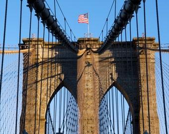 Fine Art Photography, Brooklyn Bridge, Architecture Art, New York City, NYC Print, Wall Art, Brooklyn Art, 8 x 10 Print, Blue, Tan, Black