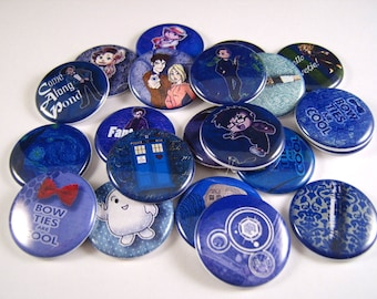 "1"" Flat Back Dr. Who Buttons, 12 Count Gaming Series"