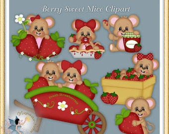 Strawberry Mice Clipart, sweet summer and spring