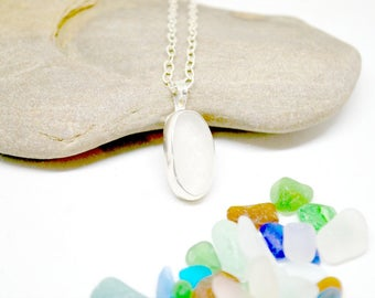 Sterling Necklace, Sterling Sea Glass Jewelry,  Beach Jewelry, Lake Erie Jewelry, Lake Bottle Jewelry, Sea Glass Necklace, Sea Glass