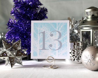 Winter Trees Wedding Table Number Romantic Mint Christmas Party New Year's Eve